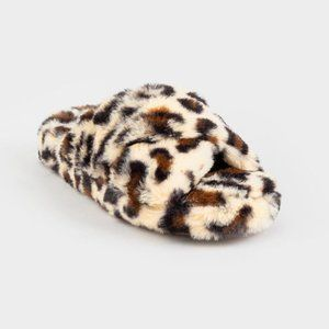 Qupid Leopard Fuzzy Slippers